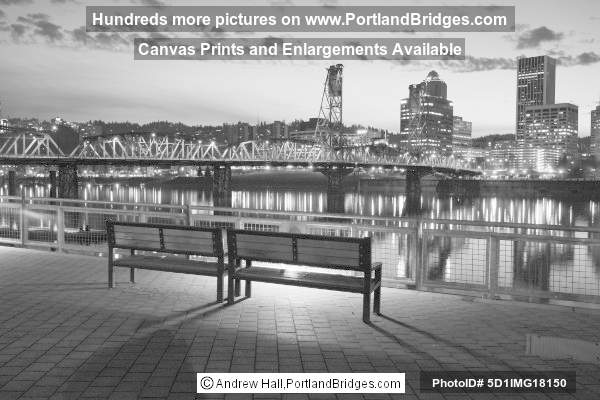 Portland Cityscape, Eastbank Esplanade, Black and White