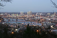 Willamette River, Bridges, Buildings, Facing NE Portland, Dusk