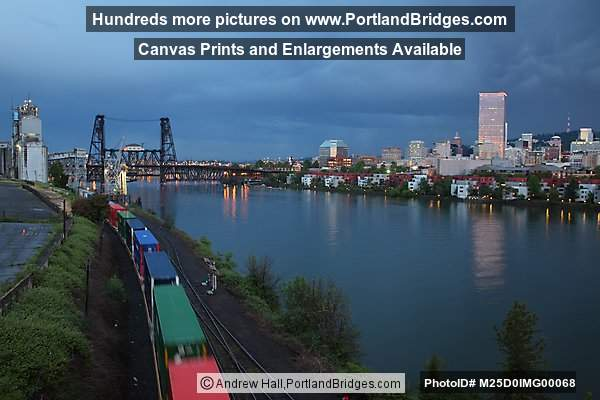 Freight Train, Portland Riverfront Between Broadway and Steel Bridges, Dusk
