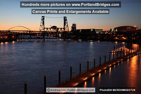 Steel Bridge from Burnside Bridge, Dusk (Portland, Oregon)