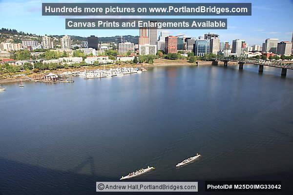 Portland Cityscape, Riverplace, Willamette River, viewed from Marquam Bridge