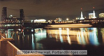 Portland Riverfront, Light Streaks, Portland At Night