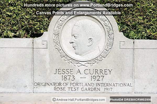Jesse A. Currey Plaque, Portland International Rose Test Garden