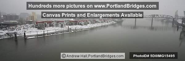 Broadway Bridge, from Steel Bridge, Portland, Snow