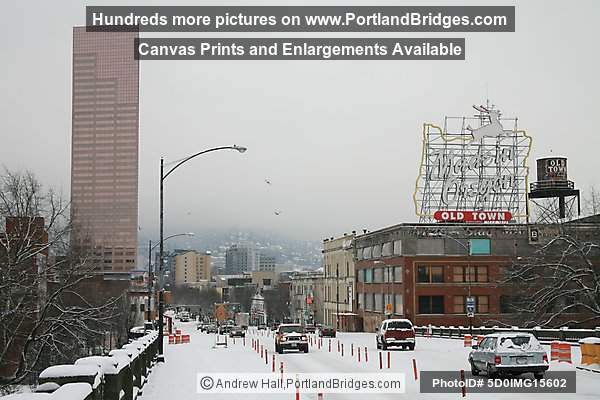 Portland Snow, Former Made in Oregon Sign, US Bancorp Tower