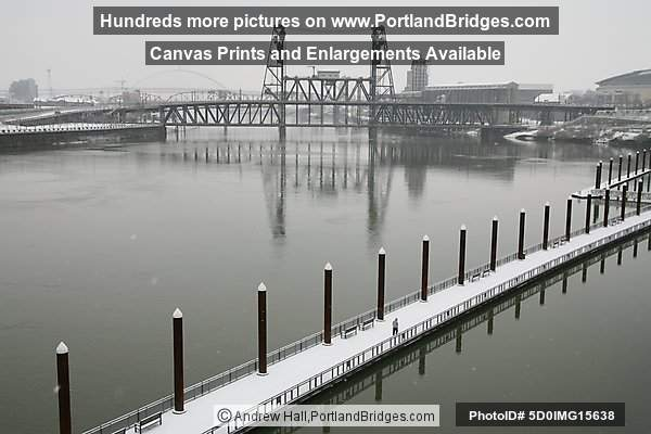 Steel Bridge, Willamette River, Snow (Portland, Oregon)