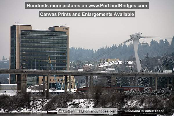 Portland Aerial Tram, OHSU, South Waterfront,  in the Snow