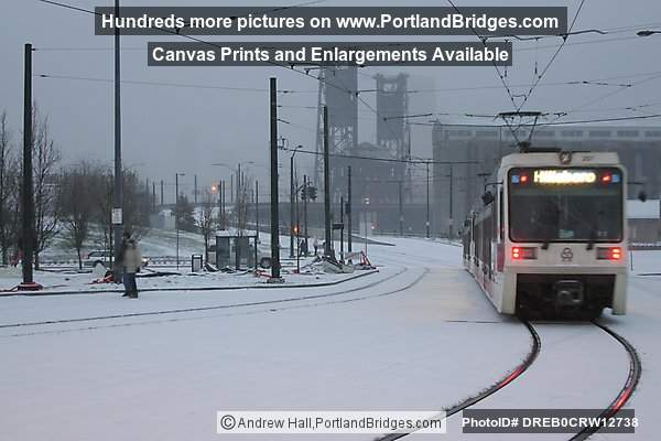 MAX Train in Snow, Rose Quarter, Steel Bridge (Portland, Oregon)