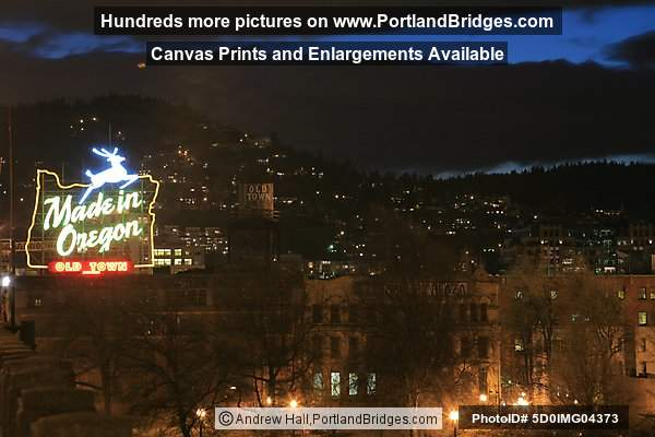 Portland Made in Oregon Sign, Dusk