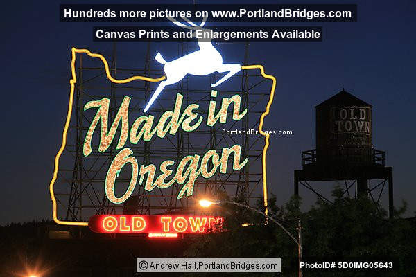 Made in Oregon Sign, Dusk