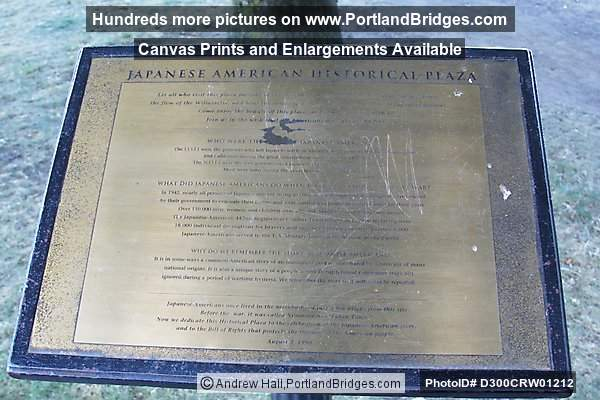 Japanese Memorial, Plaque, Portland