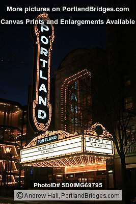 Portland Sign, Arlene Schnitzer Concert Hall, New Year's Eve Pink Martini