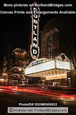 Portland Sign Arlene Schnitzer Concert Hall Car Light Streaks - Arlene schnitzer concert hall portland oregon