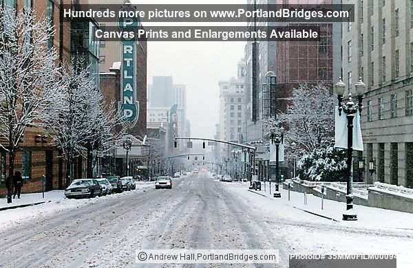 Portland Street Scenes Portland Snow Photo 35mm0film00094