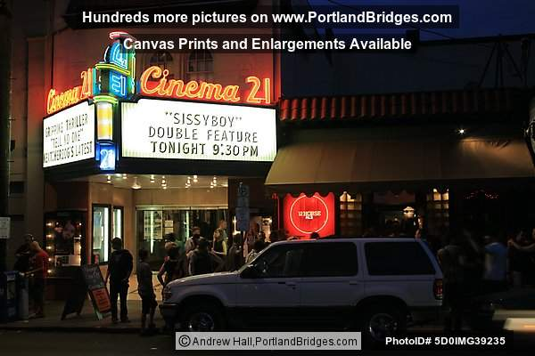 Cinema 21, Portland, Oregon, at Night