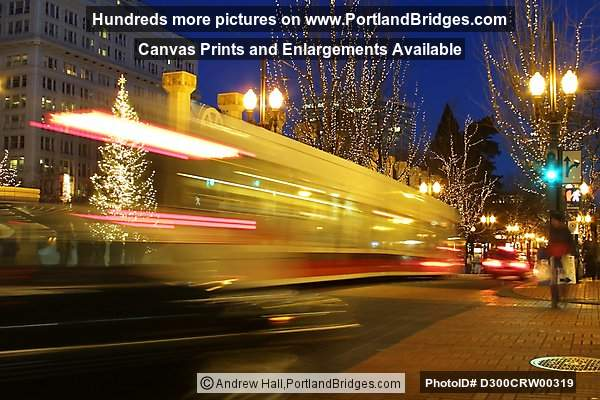 Pioneer Courthouse Square, Max Train Streaking By, Dusk (Portland, Oregon)