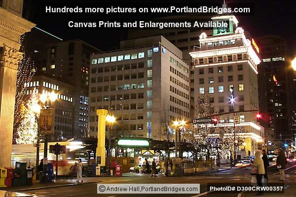 Pioneer Courthouse Square, Night, Portland, Oregon