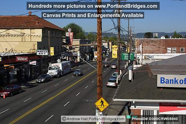 SE Hawthorne Blvd, Portland, from roof of Fred Meyer, 2002