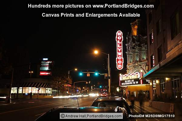 Hollywood Theatre, New Marquee, Night, Portland