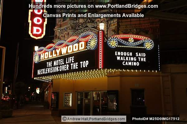Hollywood Theatre, New Marquee, Night (Portland, Oregon)