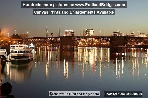 Willamette River, Morrison Bridge, Reflection, Daybreak (Portland, Oregon)