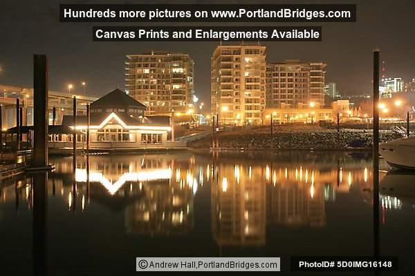 The Strand, Portland, OR; Marina Fish House (formerly Newport Bay), Riverplace at night