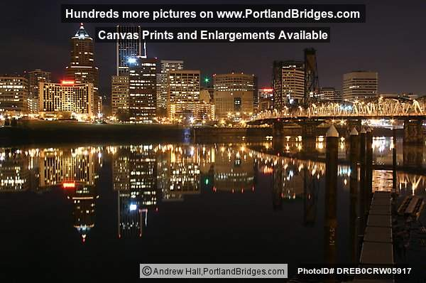 Portland Cityscape, Hawthorne Bridge, River River Reflection, Dusk