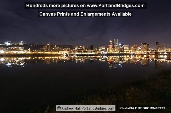 Portland Cityscape, River Reflection, Dusk