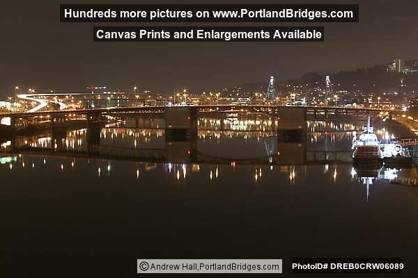 Morrison Bridge, River Reflection, Night (Portland, Oregon)