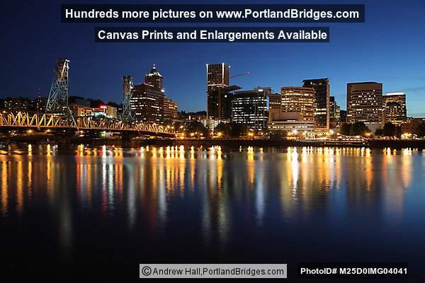 Hawthorne Bridge, Portland Skyline, Reflections, Dusk