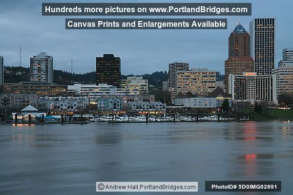 Riverplace and Portland Buildings, Willamette River, Dusk