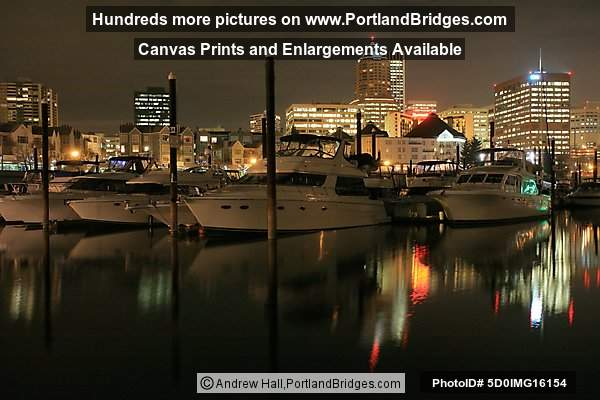 Riverplace Marina, Night, Reflections, Portland Buildings