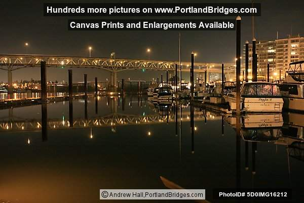 Riverplace Marina, Night, Reflections, Marquam Bridge