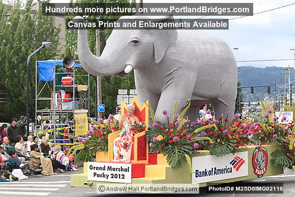 Bank of America Float, depicting Grand Marshal, Packy the Elephant