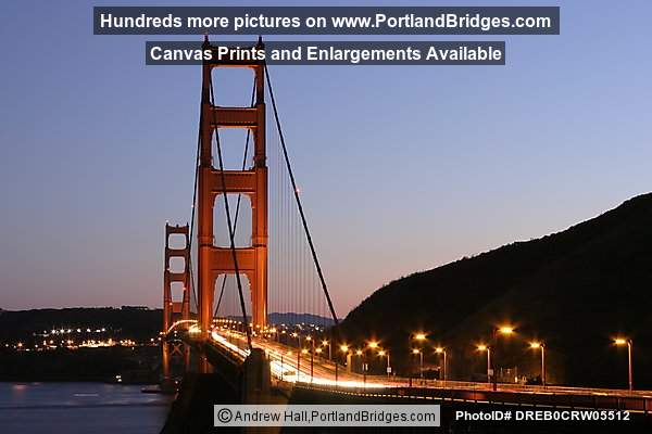Golden Gate Bridge At Dusk, Car Lights
