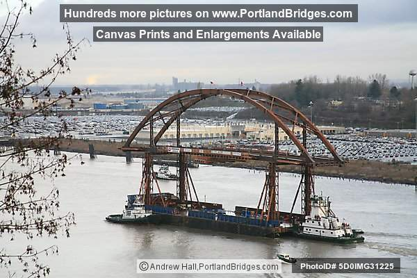 Sauvie Island Bridge New Span Floating Down Willamette River