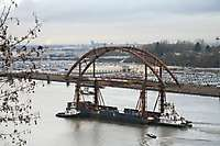 Portland Sauvie Island Bridge New Span Floating Down Willamette River