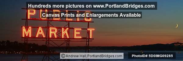 Seattle, Near Pike Place Market, Elliot Bay, Dusk