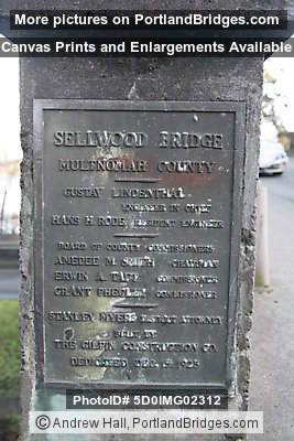 Old Sellwood Bridge Plaque (Portland, Oregon)