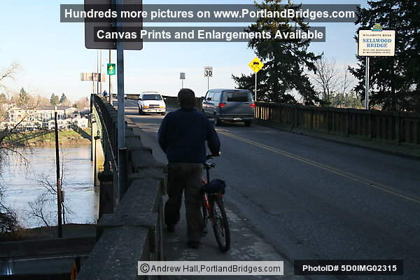 Bicyclist on Old Sellwood Bridge (Portland, Oregon)