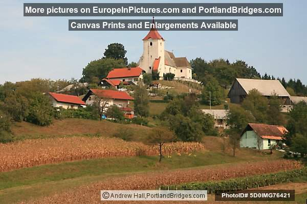 Fall Countryside, Church, Field, Stajerska, Slovenia