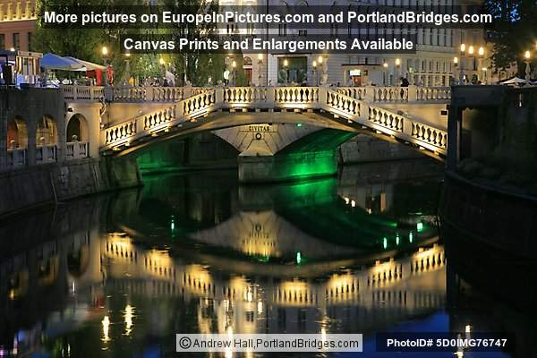 Triple Bridge Reflection, Dusk, Ljubljana