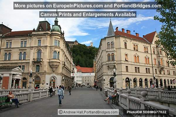 Triple Bridge, Facing Old Town and Castle, Ljubljana