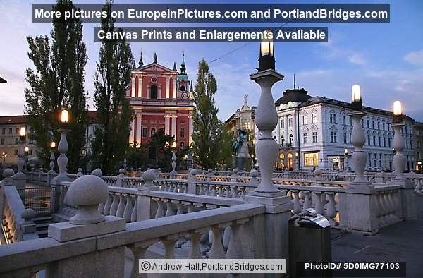 Triple Bridge, Franciscan Church, Dusk, Ljubljana, Slovenia