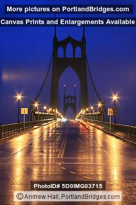 St. Johns Bridge, Dusk, Lights (Portland, Oregon)