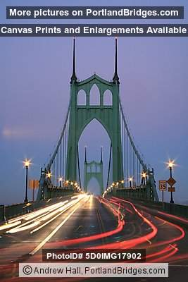 St. Johns Bridge, Light Streaks, Dusk (Portland, Oregon)