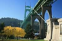 Portland St Johns Bridge Fall Leaves
