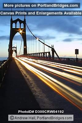 St. Johns Bridge, Daybreak, Light Streaks (Portland, Oregon)