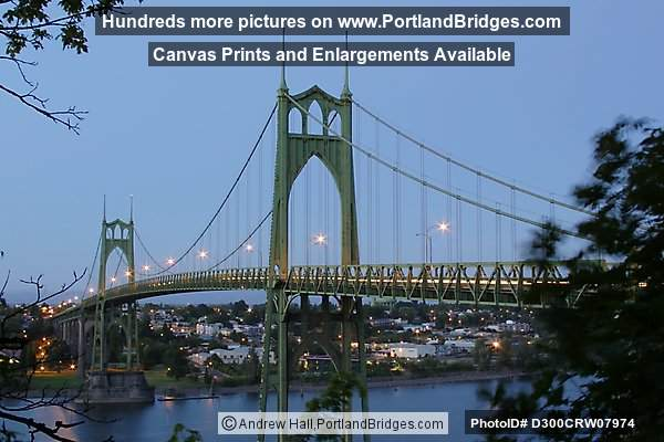 St. Johns Bridge, Dusk, Lighted, 2002 (Portland, Oregon)
