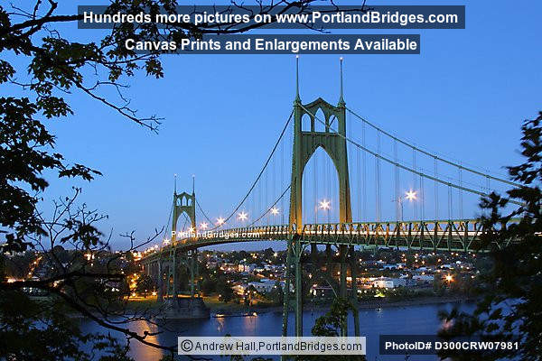 St. Johns Bridge, Dusk, Lighted, 2002